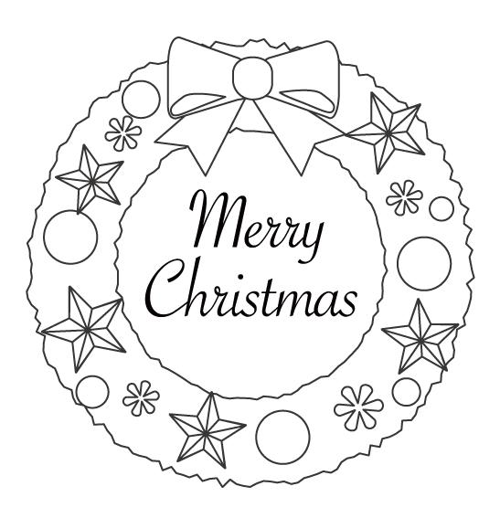 「Merry Christmas」とクリスマスリースのぬりえ