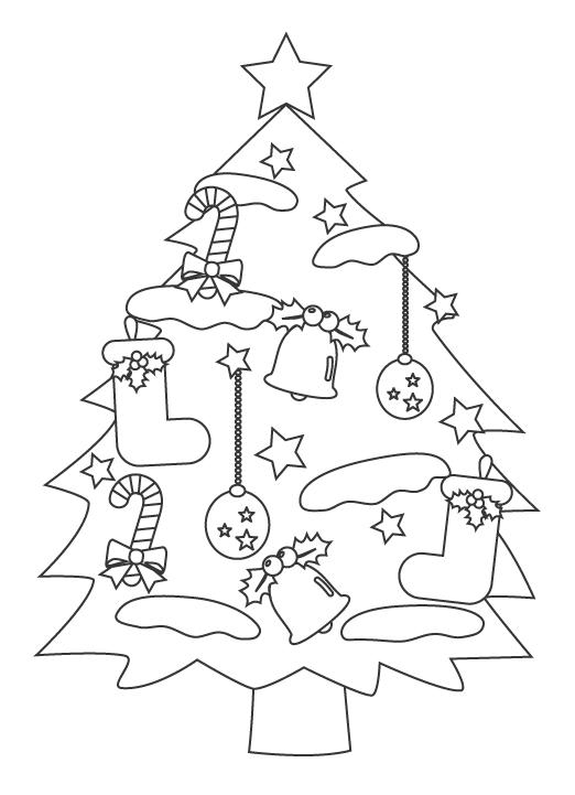 クリスマスツリーのぬりえイラスト