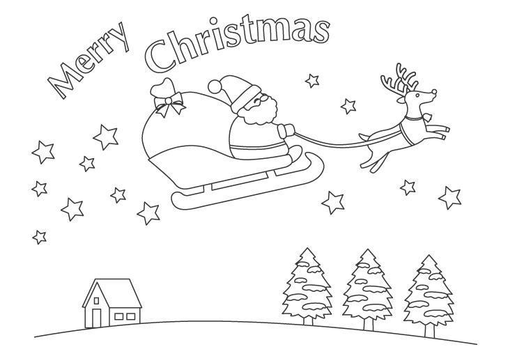 サンタとトナカイのクリスマスのぬりえ