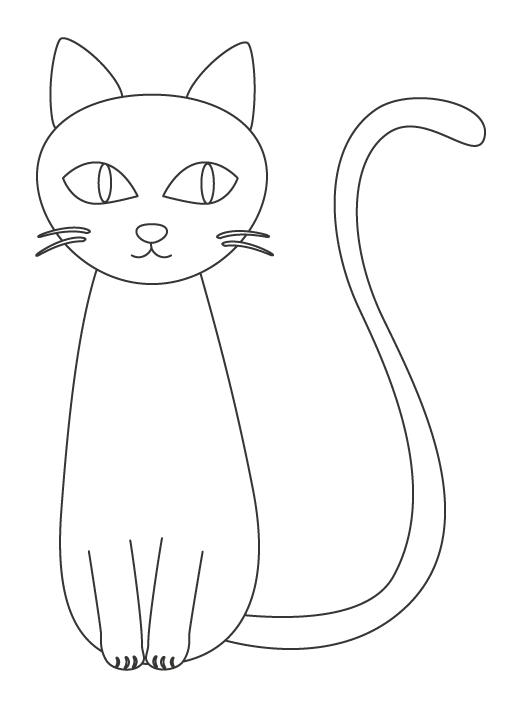 しっぽが長い猫のぬりえ