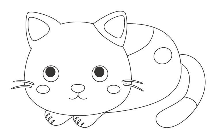 かわいい猫のぬりえ