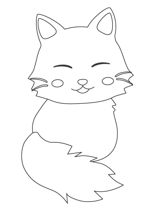振り向いているかわいい猫のぬりえ