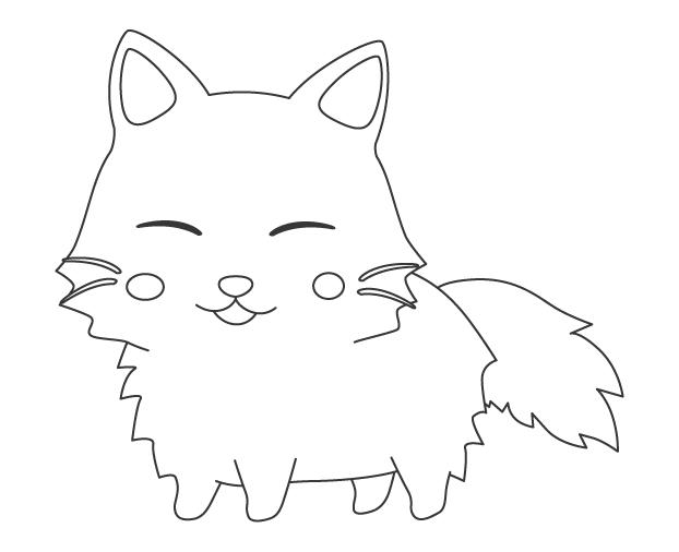 もふもふしたかわいい猫のぬりえ
