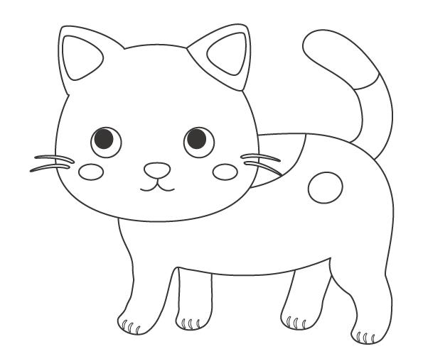 かわいい猫のぬりえイラスト素材04