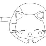 寝ているかわいい猫のぬりえイラスト