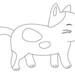 かわいい猫のぬりえイラスト素材05