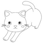 背伸びをしている猫のぬりえイラスト