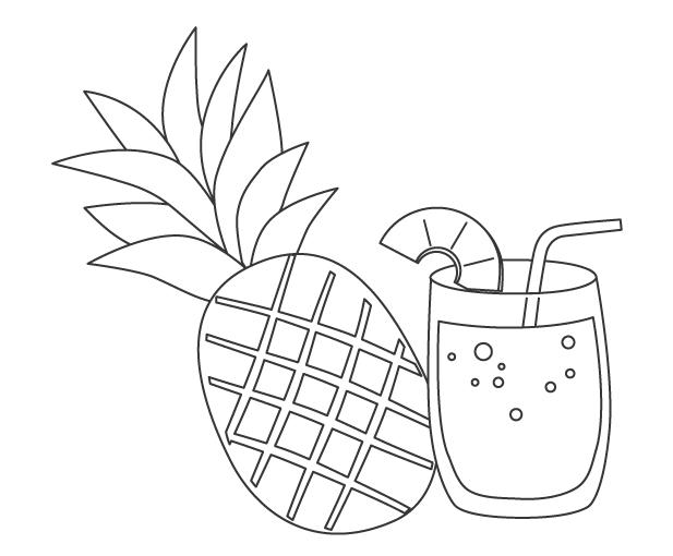 パイナップルジュースのぬりえ