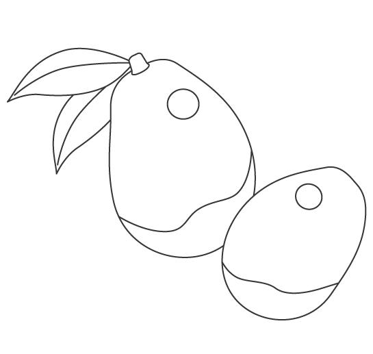 果物・マンゴーのぬりえ