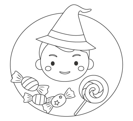 ハロウィン・キャンディーと男の子のぬりえ