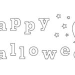 かわいいお化けのハロウィンの文字のぬりえ