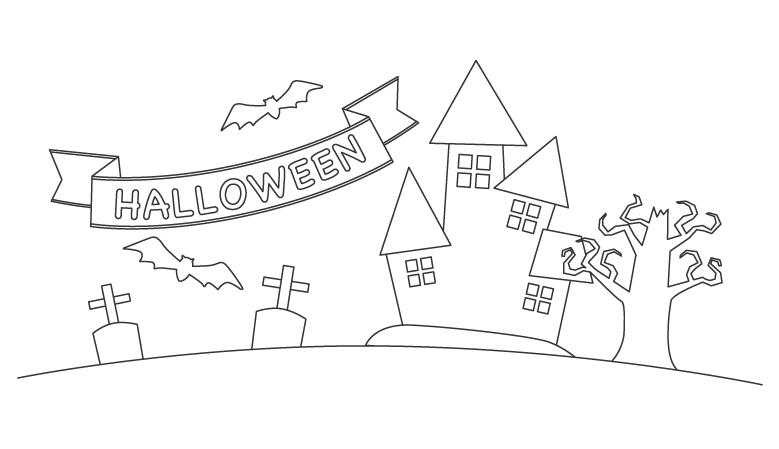 「HALLOWEEN」の文字とお化け屋敷のぬりえ