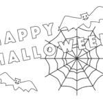 コウモリと蜘蛛の巣のハロウィンの文字のぬりえ
