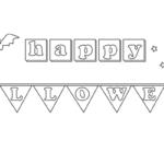 コウモリと月のハロウィンの文字のぬりえイラスト