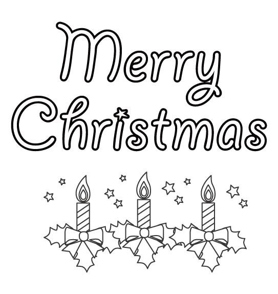 「Merry Christmas」とクリスマスキャンドルのぬりえ