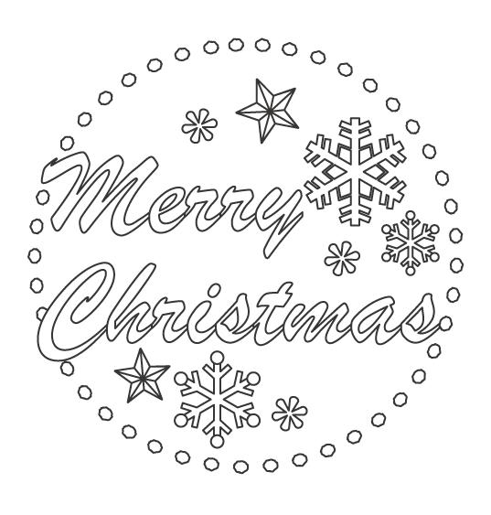 「Merry Christmas」と雪の結晶のぬりえ
