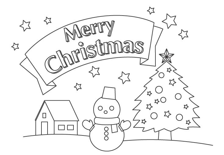 「Merry Christmas」と雪だるまのぬりえ