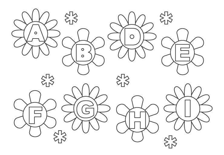 アルファベットとかわいい花のぬりえ