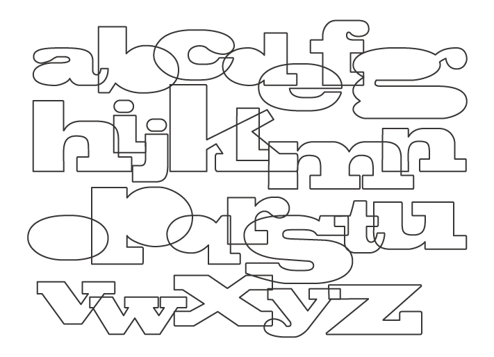 大小のアルファベット(小文字)のぬりえ