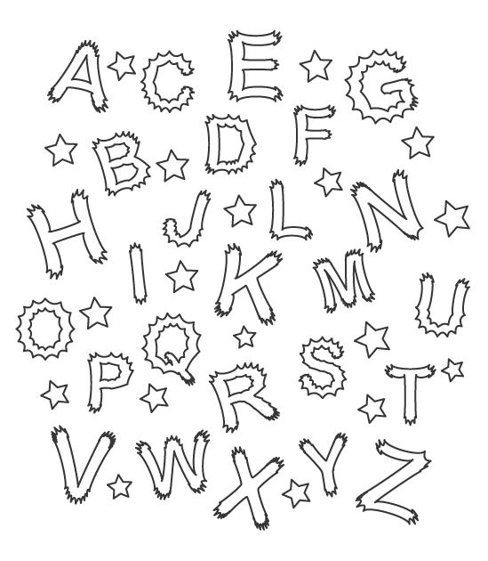 アルファベットと星のぬりえ