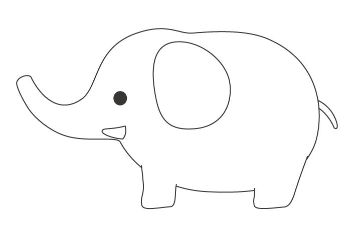 かわいいゾウ(象)のぬりえ02