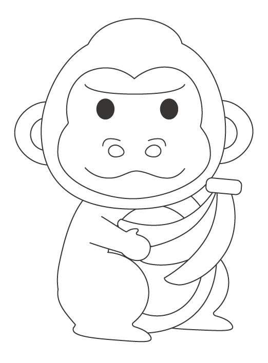 バナナを持ったゴリラのぬりえ