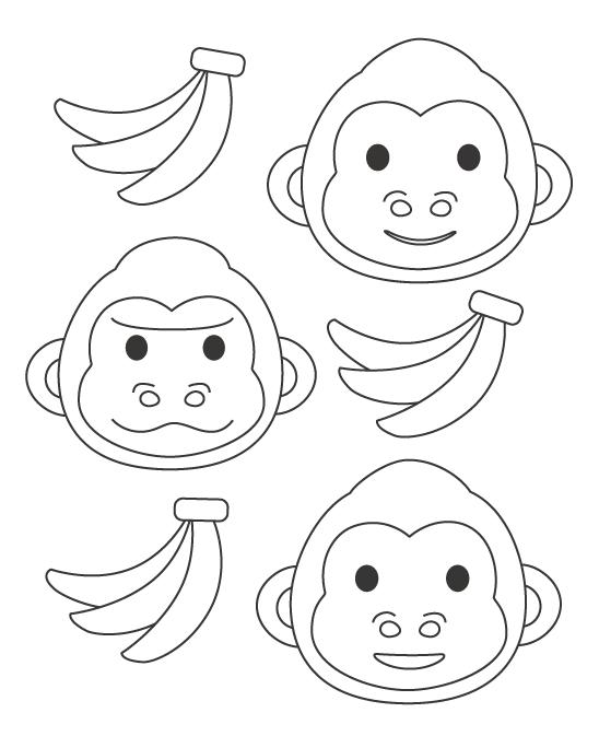 ゴリラの顔とバナナのぬりえ