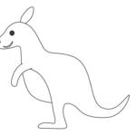かわいいカンガルー(横向き)のぬりえ
