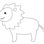 かわいいライオン(横向き)のぬりえ