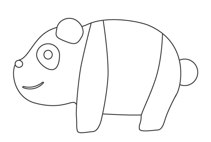 かわいいパンダ(横向き)のぬりえ