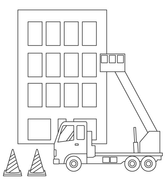 高所作業車でビル作業のぬりえイラスト