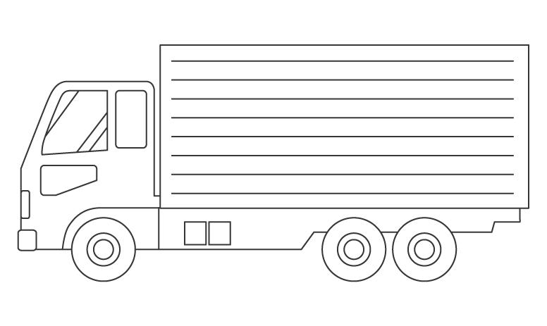 大型トラックのぬりえイラスト