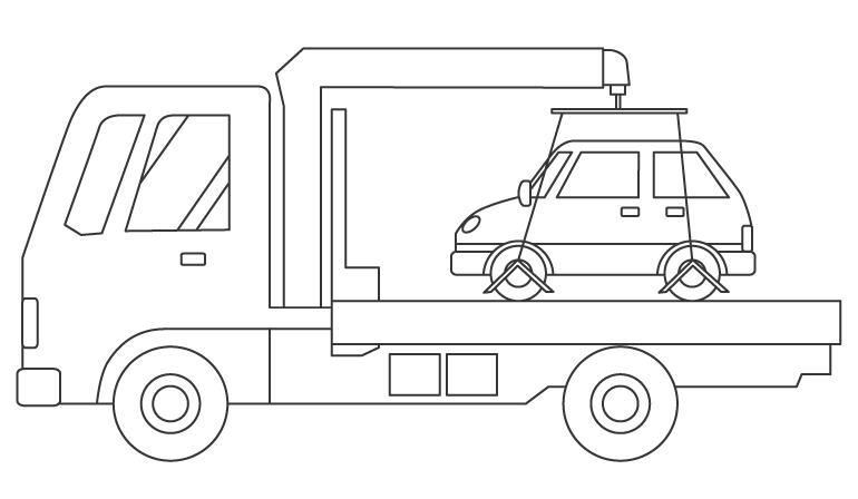 車を運ぶ積載車(キャリアカー)のぬりえイラスト