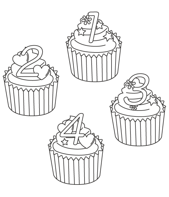 数字とカップケーキのぬりえイラスト