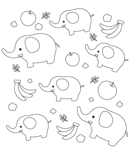 ゾウ(象)と果物のぬりえ