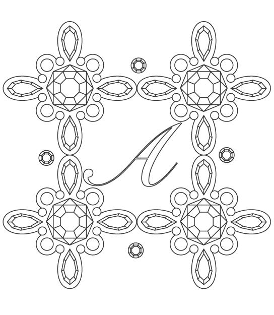 宝石の模様パターンのぬりえイラスト