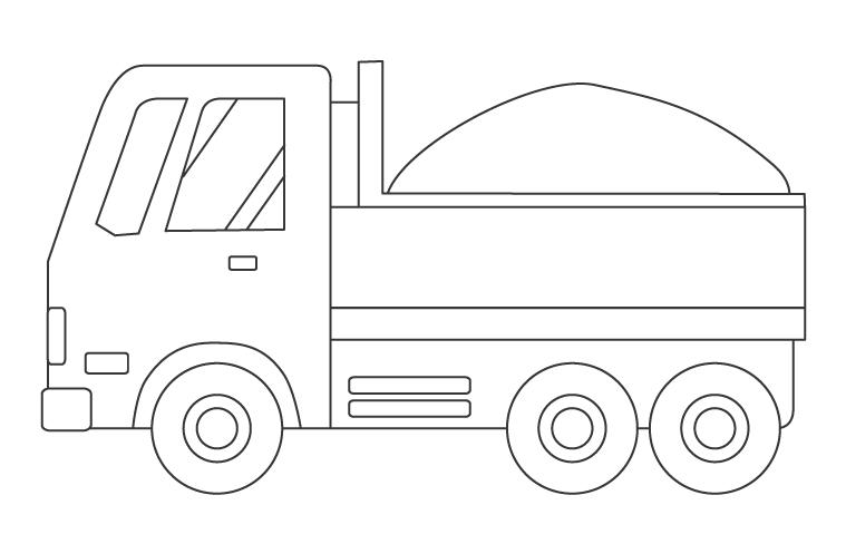 ダンプカーのぬりえイラスト