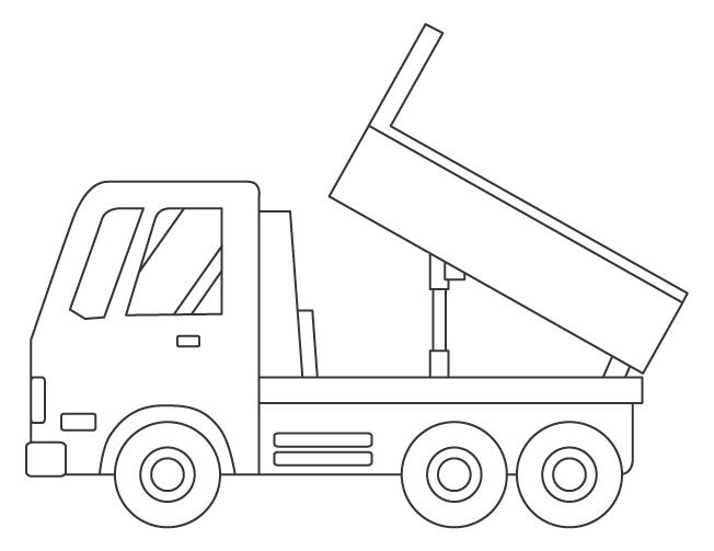 ダンプカーのぬりえイラスト素材02