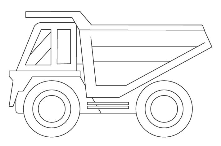 大型ダンプトラックのぬりえイラスト