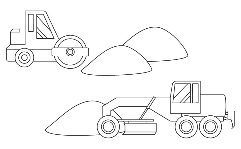 ロードローラーやモーターグレーダーのぬりえイラスト