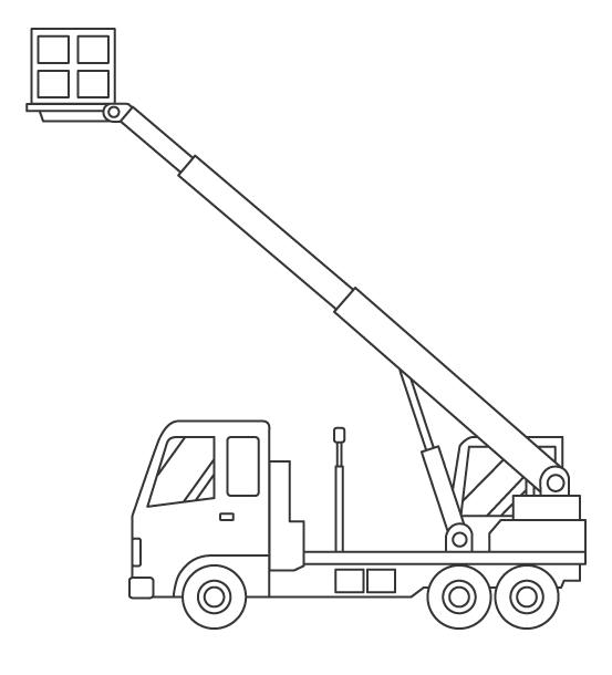 高所作業車のぬりえイラスト素材02