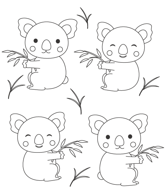 いろいろな表情のコアラのぬりえイラスト02