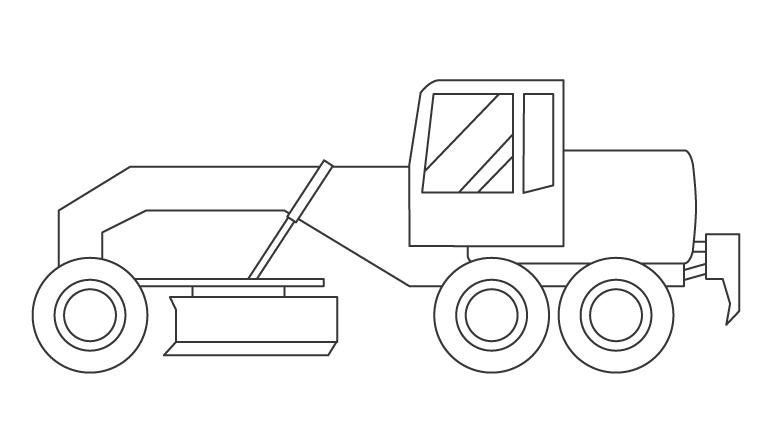 モーターグレーダーのぬりえイラスト