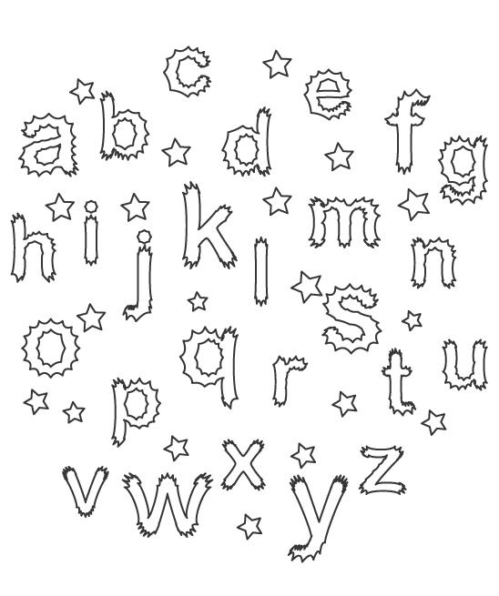 アルファベット(小文字)と星のぬりえ