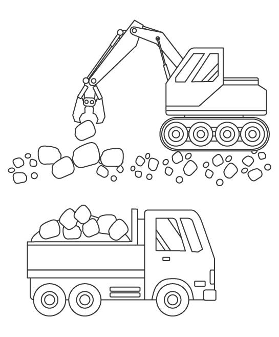 岩を砕いたり運んでいる工事現場のぬりえ