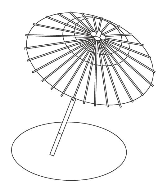 和傘(番傘)のぬりえイラスト