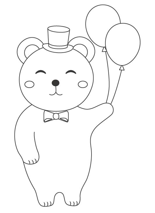 風船を持っているクマのぬりえ