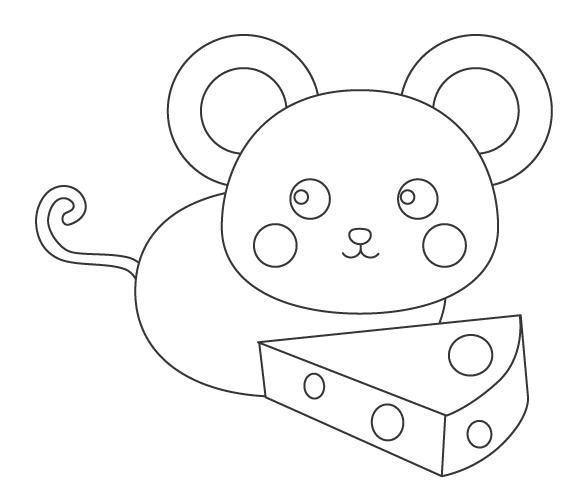 ネズミとチーズのぬりえイラスト02