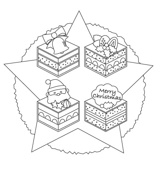 カットされたクリスマスケーキのぬりえイラスト