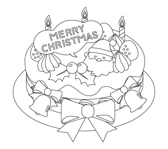 クリスマスケーキのぬりえイラスト02